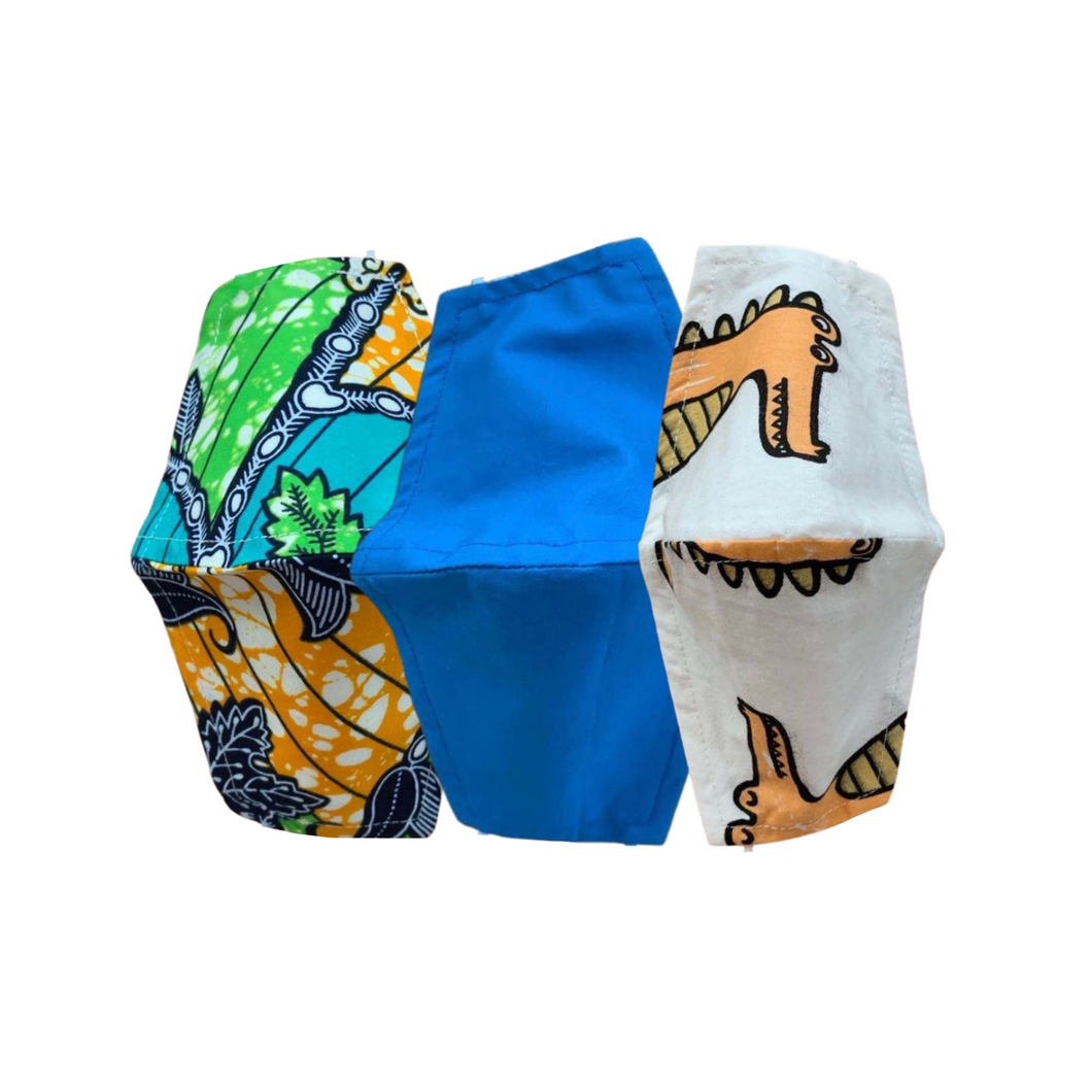 Sistasaidso+ 'Little Heroes' 3-Layer Reusable Face Mask Multipack: Jungle/True Blue/Roar-O-Saurus Online - Sistasaidso+
