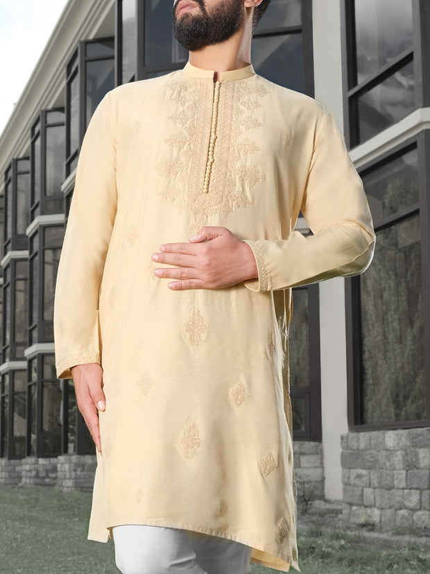 Beige Cotton Silk Formal Kurta - AL-K-SP-023