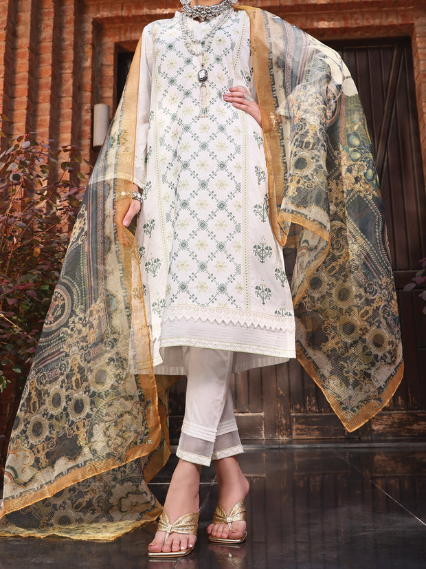 White Lawn 3 Piece Stitched - ALP-3PS-1064/S