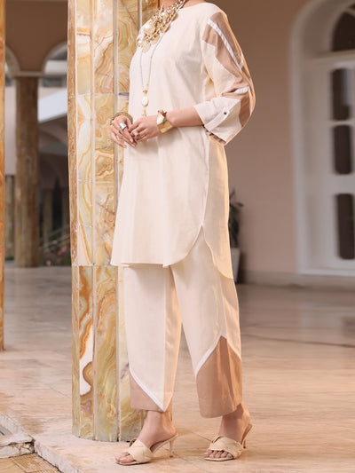 Off White Lawn 2 Piece Stitched - ALP-2PS-LKS-1068