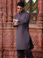Grey Blended Kameez Shalwar - ALWA-KS-178