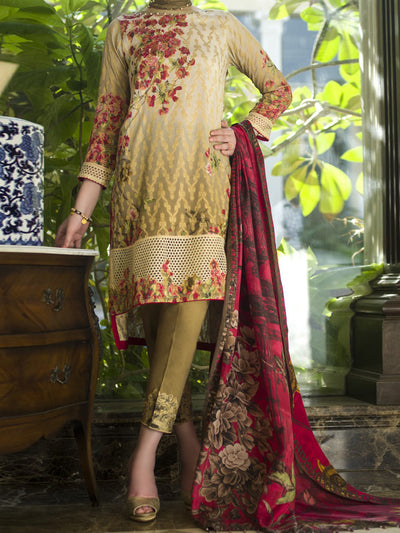 Red Jacquard 3 Piece Unstitched - AWP-186