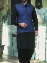 Blue & Black Suiting Waistcoat - WC-195
