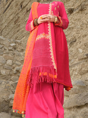 Pink Cotton Net 3 Piece Stitched - AWP-213