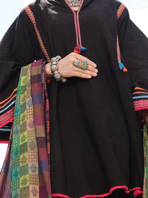 Black Khaddi 3 Piece Stitched - AWP-215