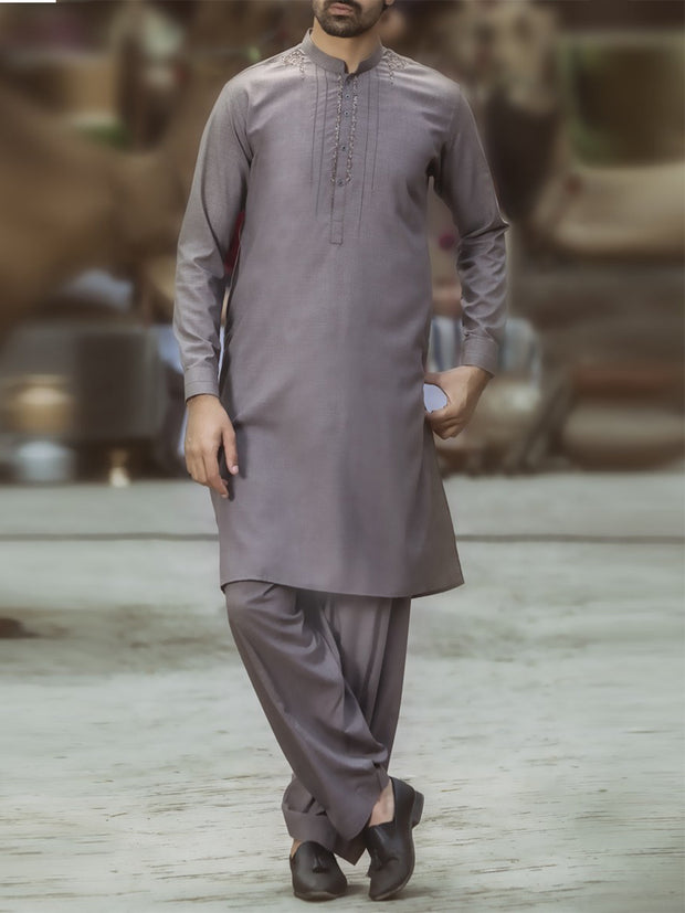 Sand Colored Blended Kameez Shalwar - AL-KS-2389