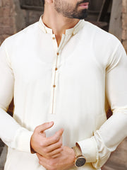 Off White Blended Kameez Shalwar - AL-KS-2513