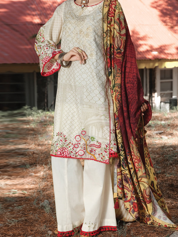 Beige Cambric 3 Piece Stitched - AWP-254