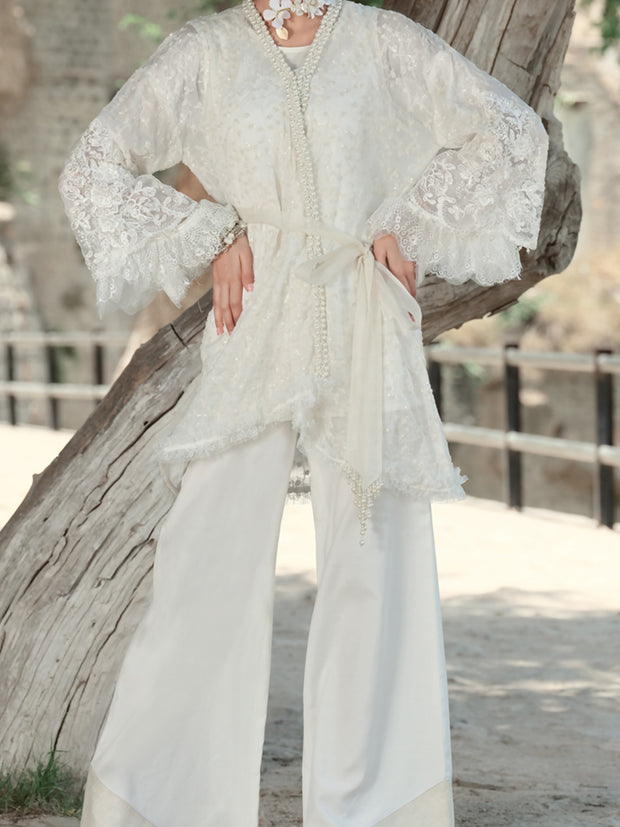 White Chiffon 2 Piece Formal Suit - LS-259