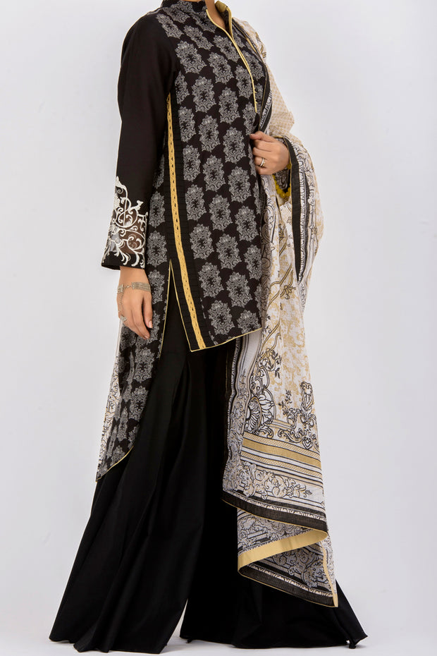 Black Jacquard 3 Piece Stitched - ALP-436