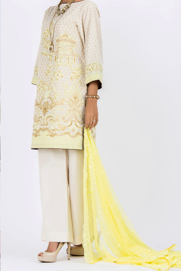 Off White Jacquard 3 Piece Stitched - ALP-531