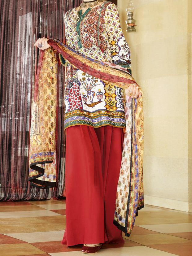 Mehroon Lawn 3 Piece Unstitched - ALP-668