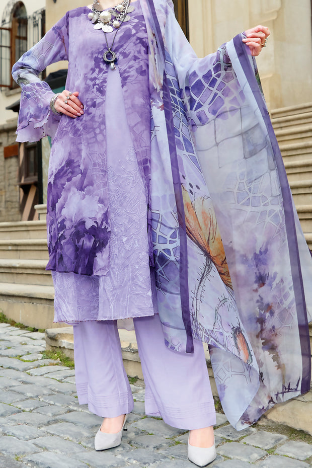 Purple Chiffon 3 Piece Stitched - ALP-686