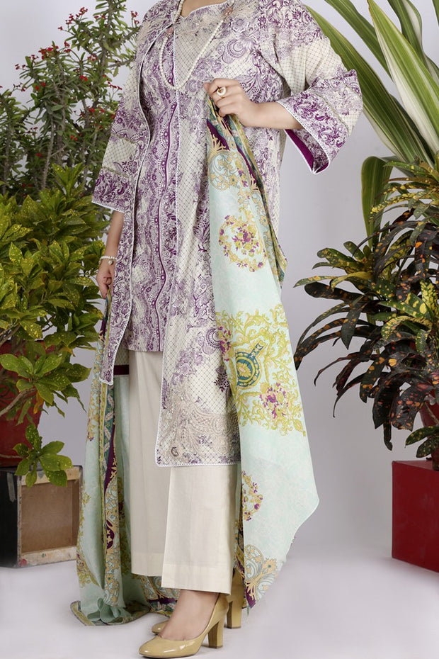 Purple Lawn 3 Piece Unstitched - ALP-710
