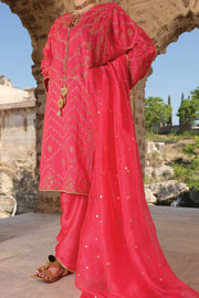 Fuchsia Raw Silk 3 Piece Unstitched - ALP-741