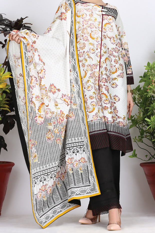 White Cambric 3 Piece Unstitched - ALP-760