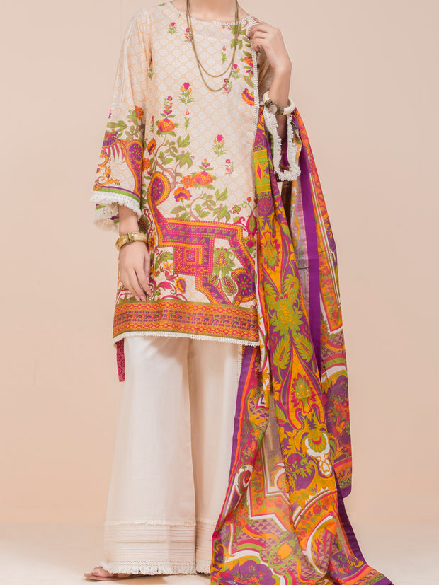 Cream Lawn 3 Piece Stitched - ALP-3PS-782