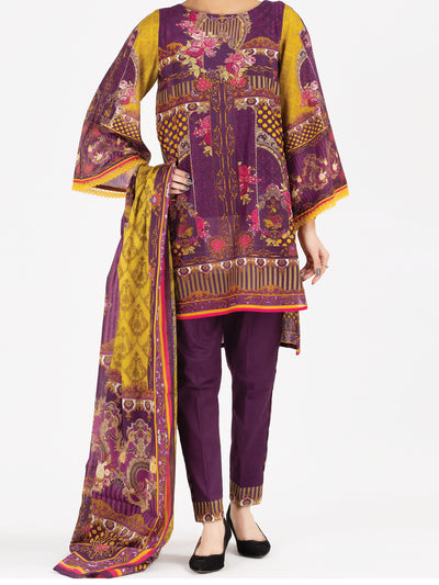 Maroon Lawn 3 Piece Stitched - ALP-3PS-797