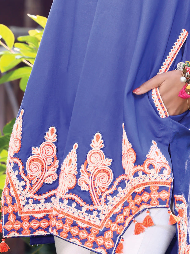Royal Blue Lawn Tunic - AL-LK-803