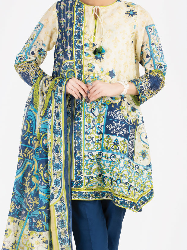 Beige Lawn 3 Piece Stitched - ALP-3PS-805