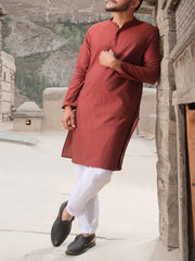 Red Blended Kurta - AL-K-825