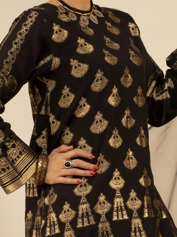 Black Jacquard 3 Piece Stitched - ALP-3PS-847