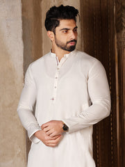 White Blended Kurta - AL-K-850