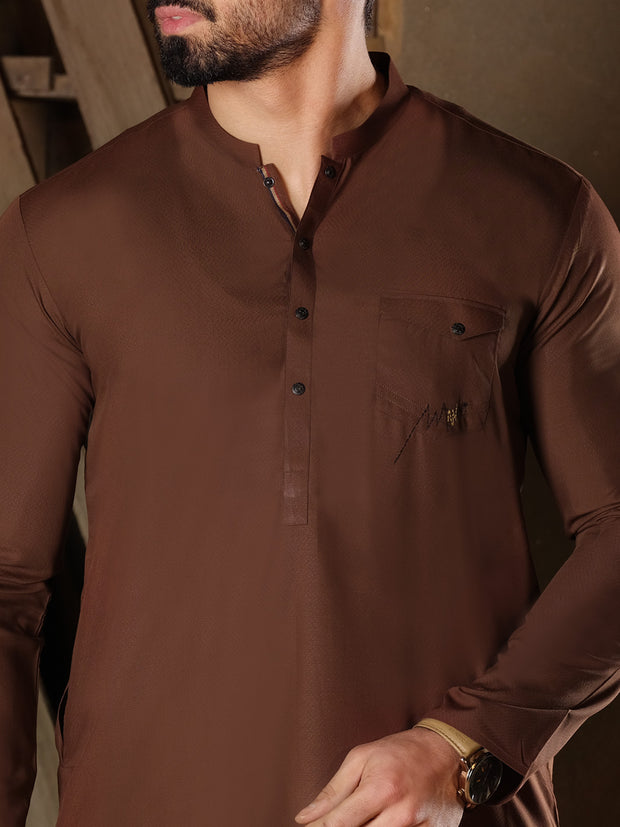 Brown Blended Kurta - AL-K-853