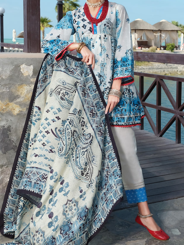 White Lawn 3 Piece Stitched - ALP-3PS-886