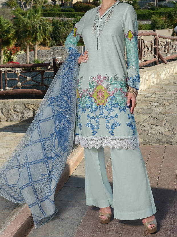 Aqua Lawn 3 Piece Unstitched - ALP-3PS-889