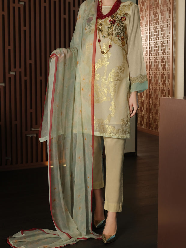 Off White Khaddi Silk 3 Piece Stitched - ALP-3PS-898