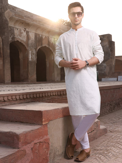 Sea Green Cotton Schiffli Kurta - AL-K-712A
