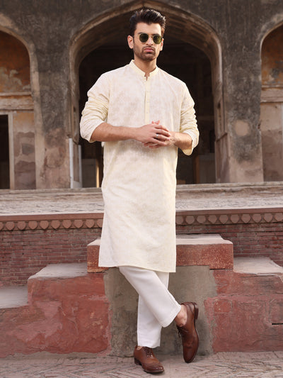 Lemon Yellow Cotton Schiffli Kurta - AL-K-712B