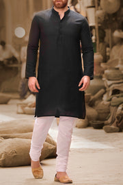 Black Cotton Kurta - AL-K-740