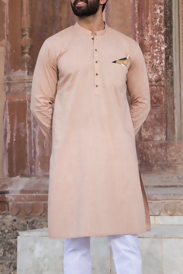 Beige Cotton Kurta - AL-K-780
