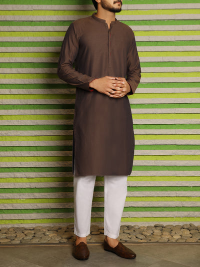 Brown Cotton Kurta - AL-K-834