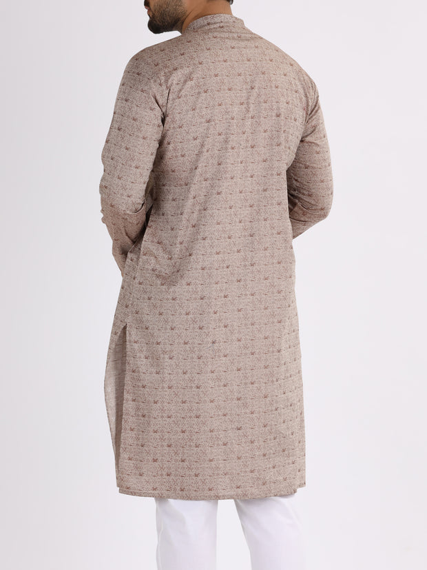 Brown Jacquard Kurta - AL-K-844