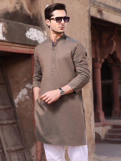 Olive Green Cotton Kurta - AL-K-902