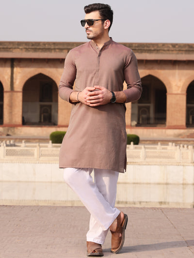 Brown Cotton Kurta - AL-K-912