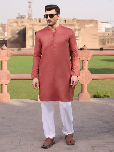 Orange Cotton Kurta - AL-K-925