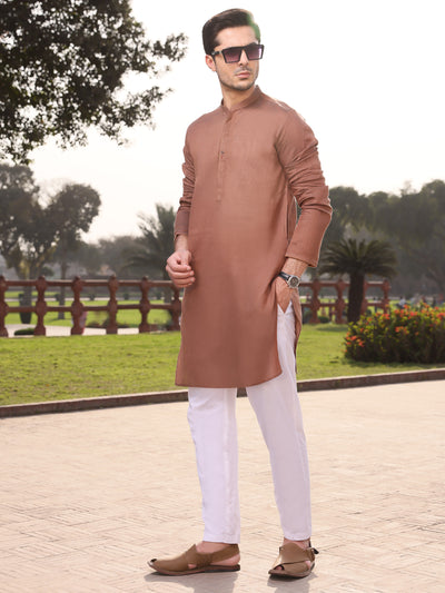 Brown Cotton Kurta - AL-K-926