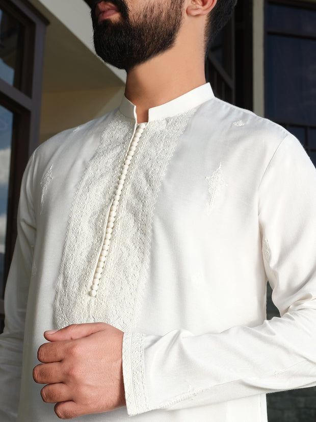 White Cotton Silk Formal Kurta - AL-K-SP-024