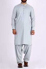 Sea Blue Blended Kameez Shalwar - AL-KS-2309