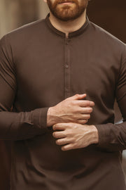 Brown Cotton Kameez Shalwar - AL-KS-2371