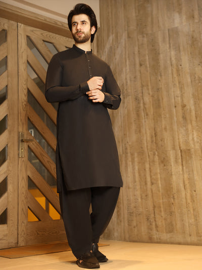Black Cotton Kameez Shalwar - AL-KS-2496