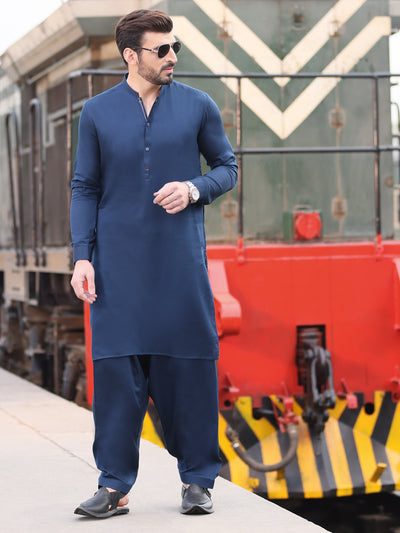 Navy Blue Cotton Kameez Shalwar - AL-KS-2527