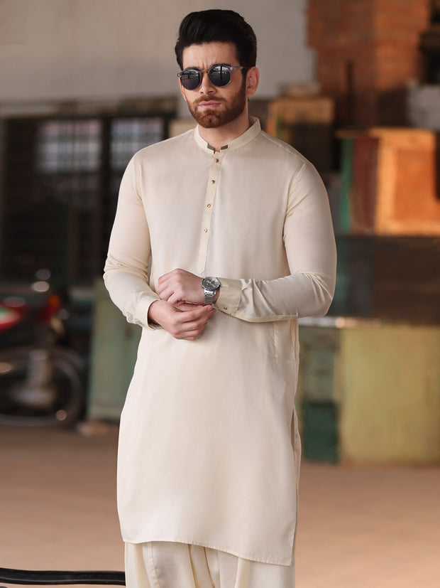 Cream Cotton Kameez Shalwar - AL-KS-2532