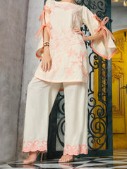 Peach Cotton/Dobby Net Tunic - AL-LK-720