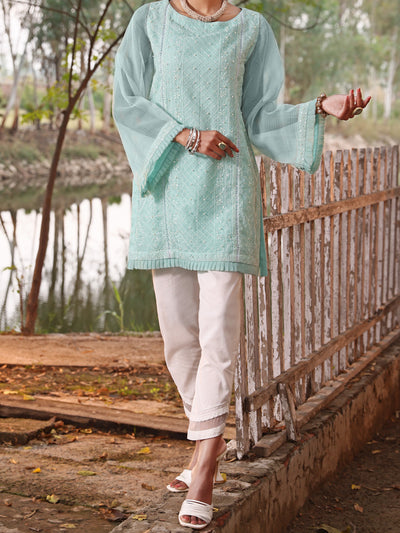 Sea Green Khaddi Net Tunic - AL-LK-780