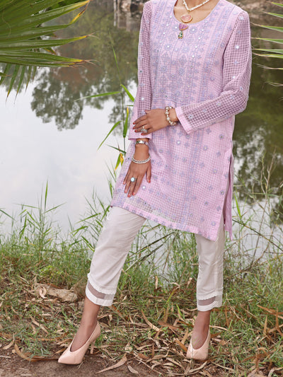 Purple Khaddi Net Tunic - AL-LK-783